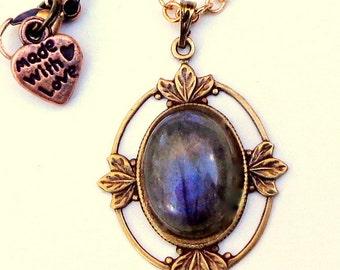 SALE, Labradorite Gemstone Necklace, Blue Grey Gemstone, Dark metal noir, Gem Necklace,Blue Flash, Natural Gemstone, Edwardian Fantasy
