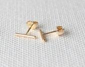 Bar earrings, Gold stud earrings, silver line earrings,