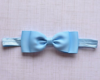 Light Blue Bow Headband. Blue Mist Baby Bow Headband. Baby Headband. Baby Hair Accessories. Girls Hair Accessories. Light Blue, Blue Mist