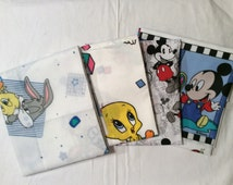 An Adorable Looney Tunes and Mickey Mouse Cotton Lot Of 4 Fat Quarters 1 Yard Of Fabric Free US Shipping