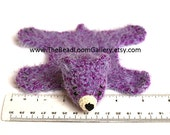 Dollhouse Miniature Knitted Bear Skin Rug - Purple - Limited Edition