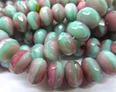 NEW COLOR   25 Opaque Bi-Color SeaFoam Green/Pink Fire Polish Roundel Glass Beads   9x6mm Size