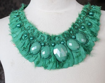 Cute embroidered   and beaded  chiffon  applique green color