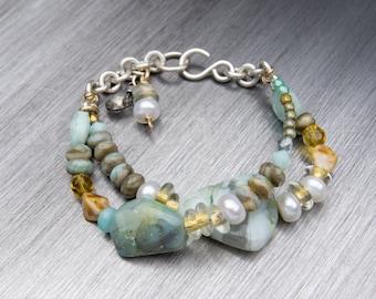 Sterling Silver Bracelet, Gemstone Jewelry, Chunky Bracelet, Chunky Gemstone Bracelet, Statement Bracelet, Aqua and Gold Jewelry