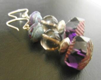 Purple earrings | purple stone | violet earrings | smoky quartz crystal | plum purple | amethyst Czech glass | semiprecious jewelry