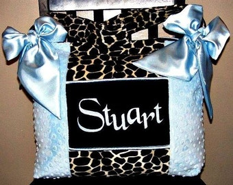 Beautiful Light Blue Boy Diaper Bag with Giraffe Brown and Black Faux Fur High Quality Custom Made