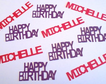 Happy Birthday With Name Confetti - Set of 24