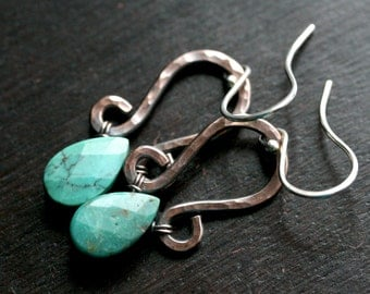 Turquoise dangle earrings, oxidized copper earrings, hammered, dangle, stone, drop, teardrop earrings, Mimi Michele Jewelry