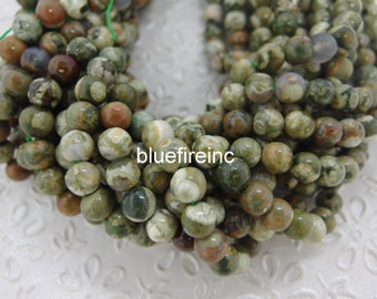 8mm round smooth Natural color Ryolite beads in full strand