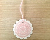 Doily Gift Tags  Round pale pink scallop edged favour tags - Hang Tag for Gifting - Scrapbooking - Crafting - Birthdays -Presents -Set of 10