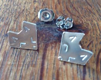 Tiny Fox Earrings, sterling silver, handmade