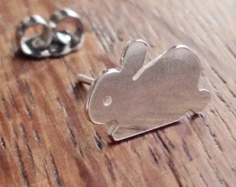 Bunny Post Earrings, Sterling Silver, Stud Earrings, Stem Earrings, Handmade