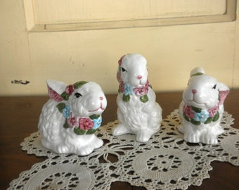 Trio of Floral Trimmed Easter Bunny Figurines