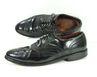 allen edmonds wingtip shoes mens 9 B black Lloyd oxford brogue leather vintage