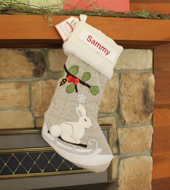 Bunny Christmas Stocking With Monogram Pottery Barn Woodland