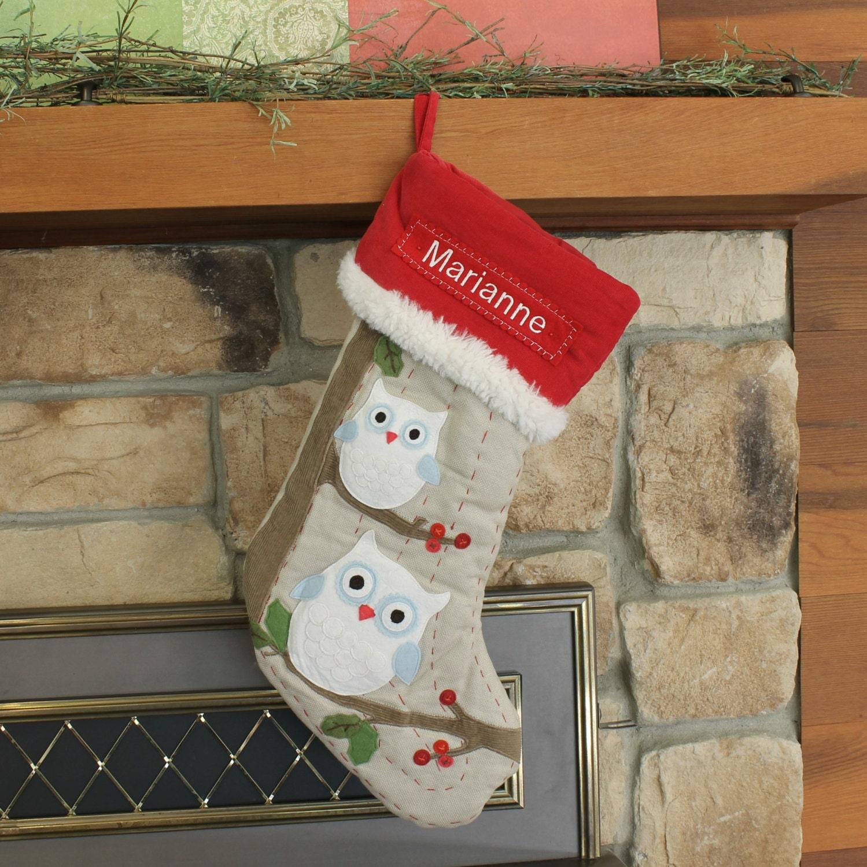 owl christmas stocking with monogram pottery barn woodland. Black Bedroom Furniture Sets. Home Design Ideas