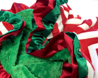 Christmas Blanket Red and White Chevron With Kelly Green Minky and double ruffle