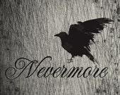 Edgar Allan Poe Nevermore Raven inspired digital 8X10 file.  Wall art, digital jpg file
