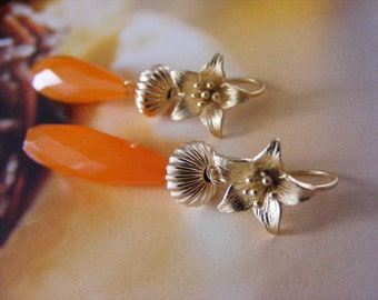 Tangerine Chalcedony Elongated Briolette Earrings.