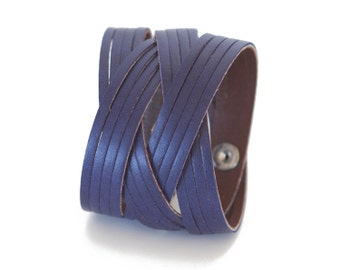 Indigo purple leather bracelet, Multi-strand cuff   - the Jazz Cuff