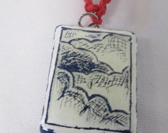 CLOUDS Clay Pendant Red Hemp Necklace  - Marker Illustration OOAK