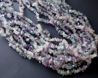 Rainbow Fluorite Chip Beads, Craft Supplies, Jewelry Making, Gemstone Beads, Semi Precious, Purple Green, Endless Loop, Necklace Design
