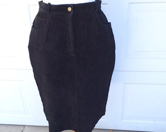 Lord & Taylor Black Suede Skirt  | 80s High Waisted Fitted Leather Skirt | Medium Large