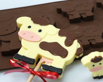 4+1 Cow Bull Farm Animal -  Novelty Chocolate Silicone Mould Candy Lolly Cake Topper Silicon Mold - resin / craft / wax / soap