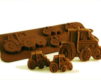 4+1 Tractor Farm Boys Chocolate Silicone Mould Candy Cake Topper Silicon Mold - resin / craft / wax / soap