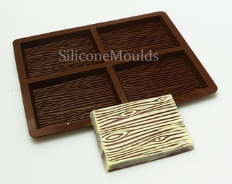 4 cell WOOD GRAIN Chocolate Bar (finished weight approx 87g) Silicone Bakeware Mould Candy Cake Mold Cupcake Toppers / Resin / Wax / Soap