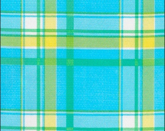 Plaid Oilcloth in Blue and Yellow