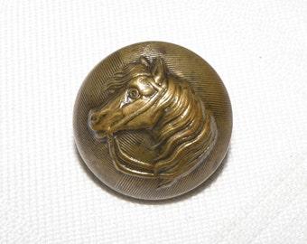 Antique Brass Horse Head Button