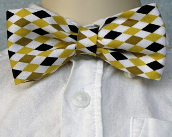 Boy Bowtie in Black and Gold Argyle (sizes newborn -12)
