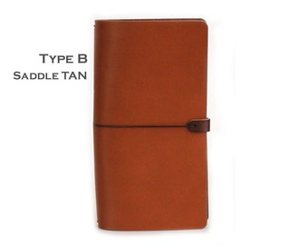 LEATHER COVER for Midori - Field notes - Moleskine cahiers in Saddle Tan