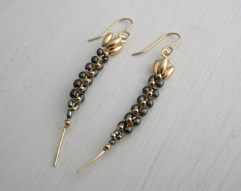 Black Pearl Earrings Long Orchid Stem
