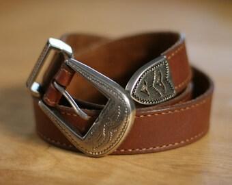 Western Silver Buckle Leather Belt (XS/S)