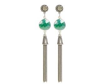Natural emerald earrings - Emerald gemstone earrings - antique silver tassel earrings - gemstone jewelry - emerald green jewelry