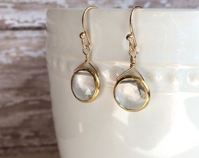 Crystal Quartz Bezeled Earrings in Gold