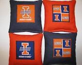 University of Illinois Fighting Illini Cornhole Bean Bag Toss Baggo Corn Set of 8