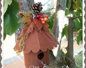 Handmade felt Autumn Birdhouse
