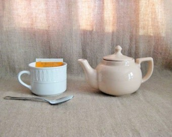 Vintage Sterling Teapot / Sterling Vitrified China Teapot in Sand / 1956 Sterling China Teapot