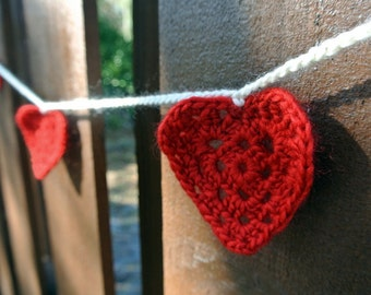 Red Crochet Heart Garland
