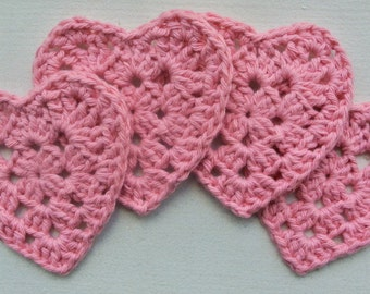 Pink Crochet Heart Coasters