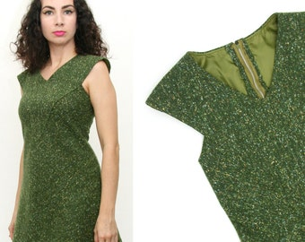 Vintage 60s Green A-Line Mini Dress Mod Twiggy Space Age Extra Small