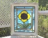 Stained Glass Mosaic Yellow Sunflower Window Repurpose Frame