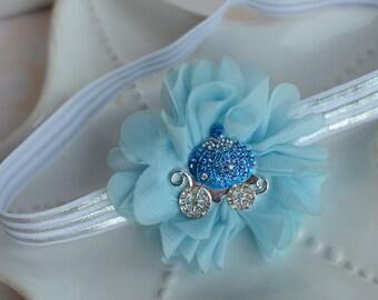 Cinderella inspired Flower Headband- Blue Chiffon Flower with Rhinestone Coach and Silver and White Elastic Headband