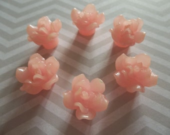 Coral Pink Flower Flat Back 13mm X 16mm Beads or Cabochons - Qty 6