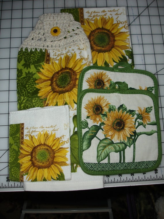 sunflower 5 kitchen towel set by lleeone on etsy