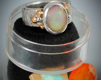 Get Lost in Your 4.20 Carat Welo Opal Sterling Silver Ring with 14k. Gold Accents SIZE  7.5-8