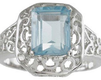 sterling silver genuine topaz ring